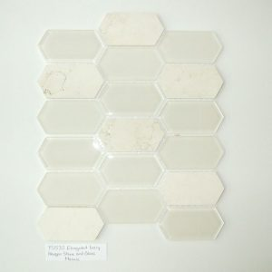 YS1535 Elongated Hex Mosaic Interlock Athens Grey Stone/Glass Waterjet [.8 sf/sheet]