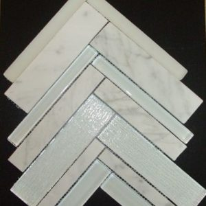 170180 Herringbone Mosaic Super White Bianco Carrara