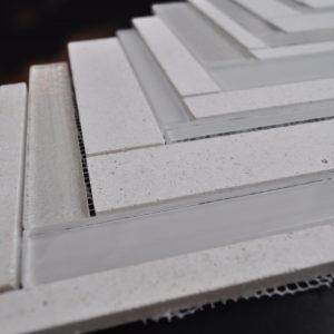 172185 Herringbone Mosaic Mocha Cream & Ivory Beige