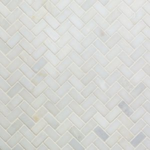 Carrara White Herringbone Mosaic