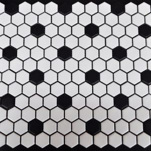 """MG Snow White 1""""x1"""" Hexagon with Black Tozzetto Glazed"""