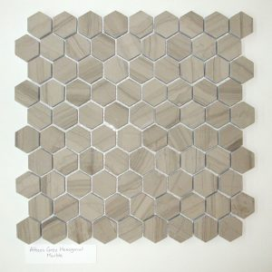 "Athens Grey 1""x1"" Hexagon Honed MarbleMosaic"