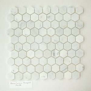 "Bianco Carrera 1""x1"" Hexagon Honed Marble Mosaic"