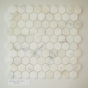 "Calcutta 1""x1"" Hexagon Honed Marble Mosaic"