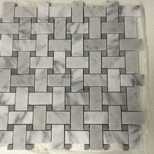 Bianco Carrera Basketweave with Grey Marble Dot