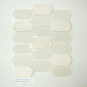 YS1535 Elongated Hex Mosaic Interlock Athens Grey Stone/Glass Waterjet [.8 sf/sheet]