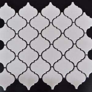 "MG Bright White 2"" Lantern Arabesque Mosaic"