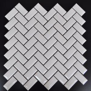 MG Bright White Diamond Herringbone Mosaic
