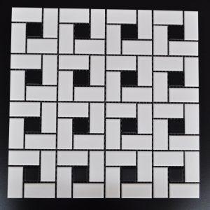 MG pinwheel White Mosaic with Black Pindot