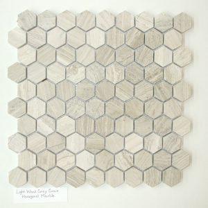 "Light Wood Grey 1""x1"" Hexagon Honed Mosaic"