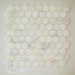 """Calcutta 1""""x1"""" Hexagon Honed Marble Mosaic"""